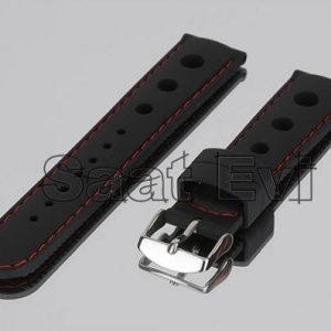 IMG 0196 siyah kırmızı dikisli kaucuk saat kayis